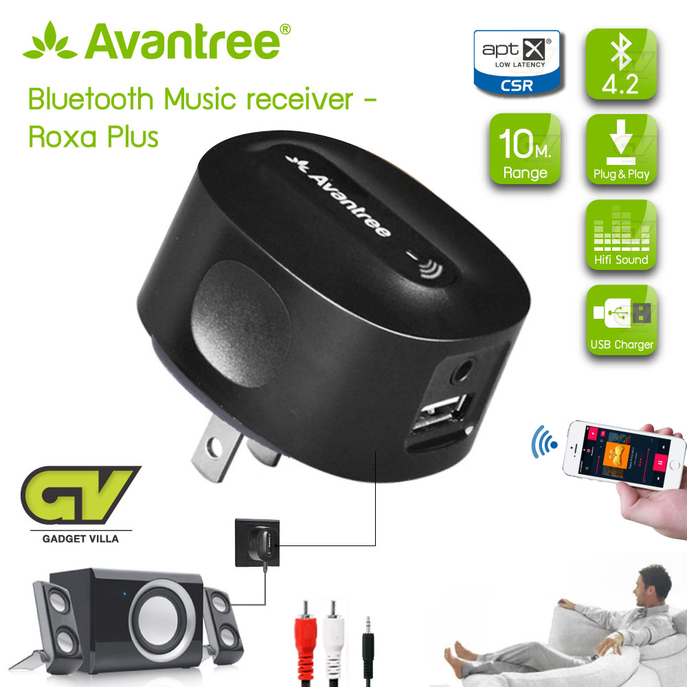 Avantree Roxa Plus CHARGE FREE aptX LOW LATENCY Bluetooth Receiver for Home Stereo, CD-Quality Music Streaming (BLK)