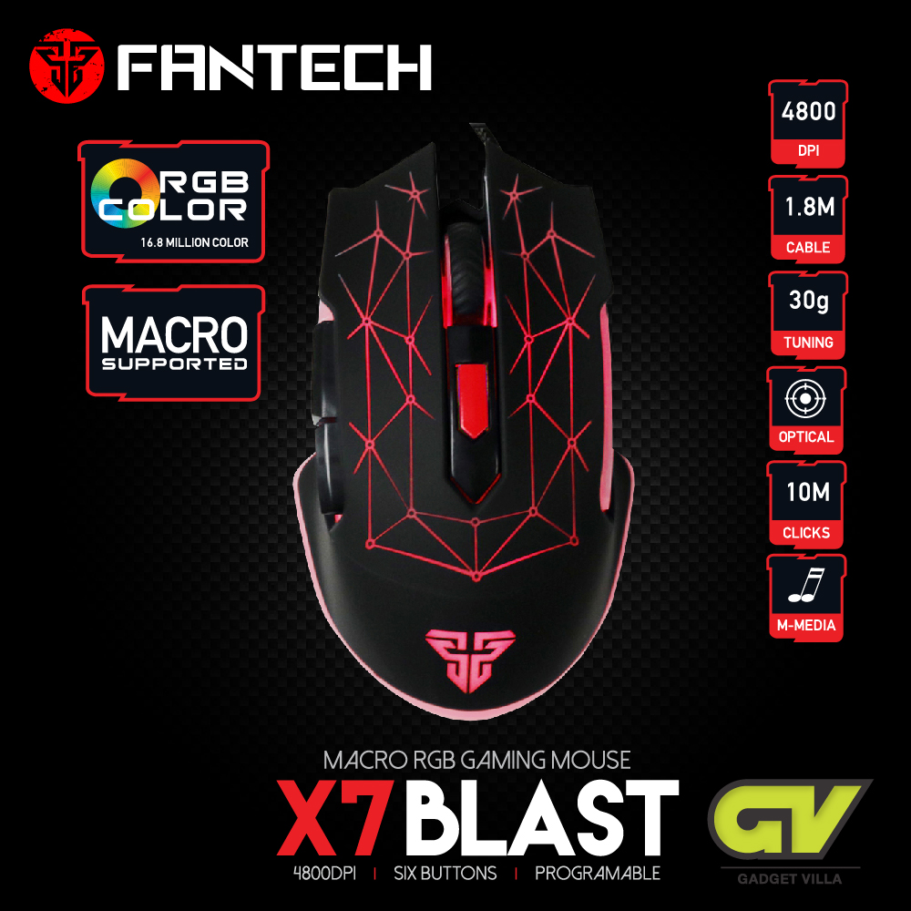 FANTECH Optical Macro Key RGB Gaming Mouse X7 BLAST