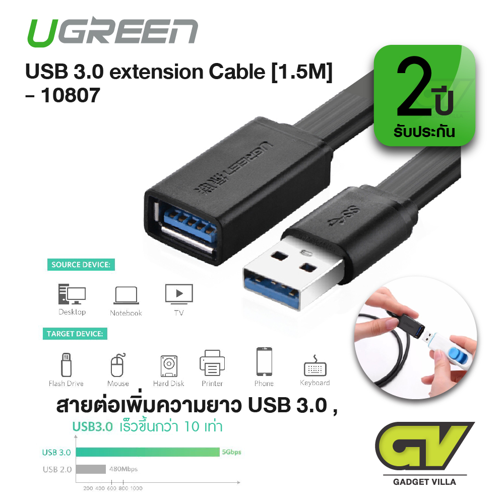 UGREEN 10807 USB 3.0 A Male to Female Fast Cable [1.5 M] | สายต่อ ขยายความยาว  for Oculus VR, Playstation, Xbox, USB Flash Drive, Card Reader, Hard Drive,Keyboard, Printer, Scanner, Camera (1.5m)