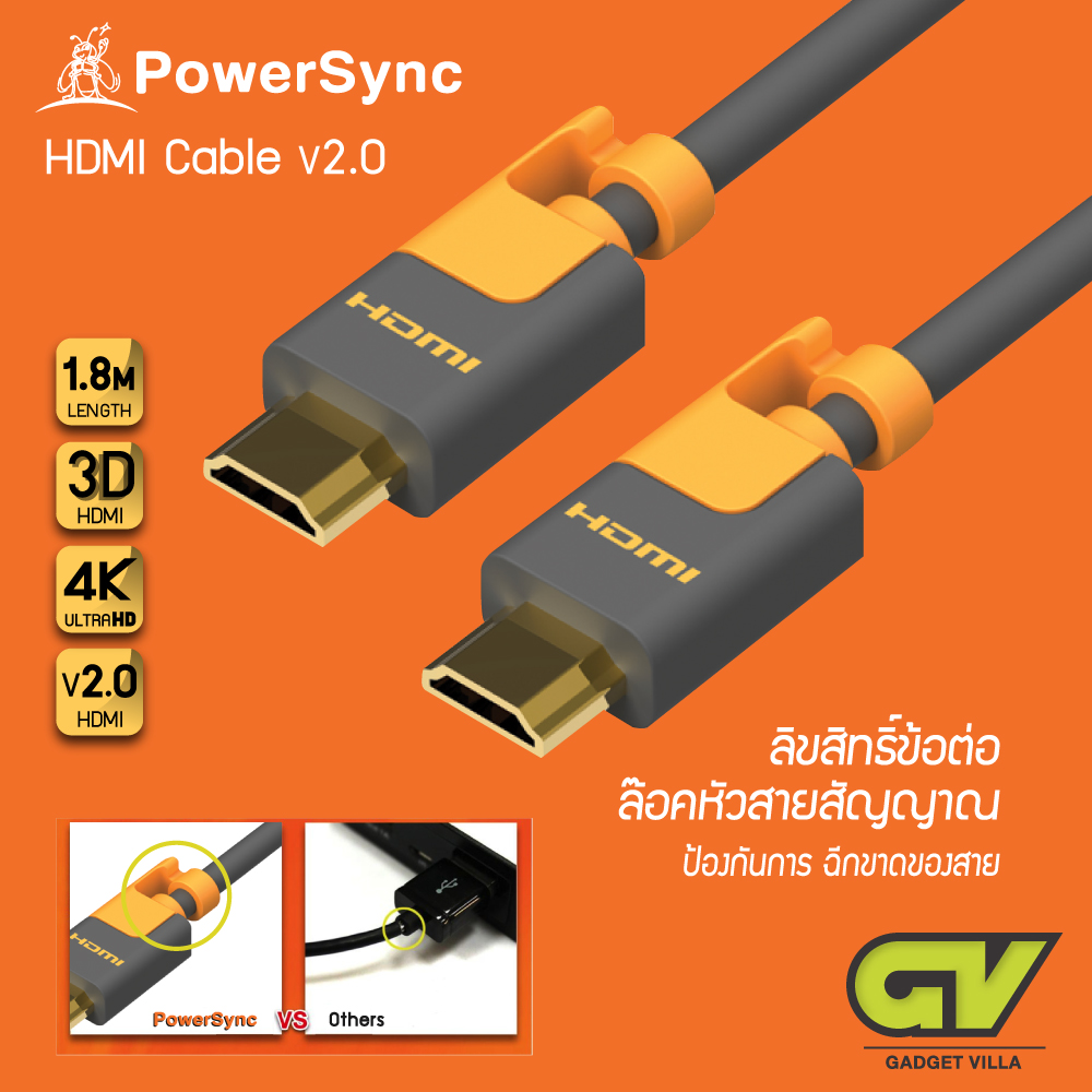 POWERSYNC 3D HIGH SPEED HDMI CABLE V2.0 Support 4K - 1.8 Meter