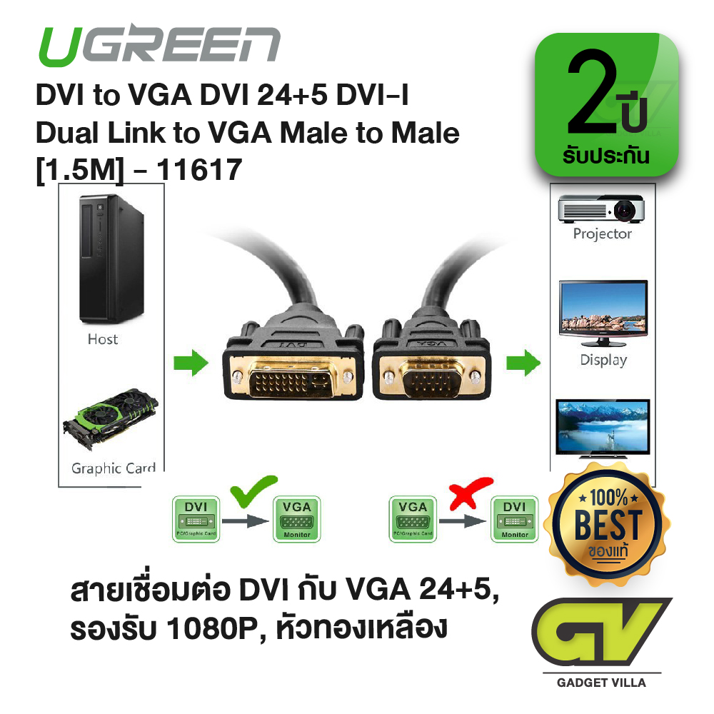 UGREEN รุ่น 11617 สาย หัว DVI to VGA หรือ VGA to DVI VI 24+5 Dual Link to VGA Male to Male Digital Video Cable Gold Plated Support 1080P for TV, DVD and Projector, Xbox360, PS4, ทีวี, โปรเจคเตอร์, คอมพิวเตอร์, จอมอนิเตอร์, จอคอม 1.5M