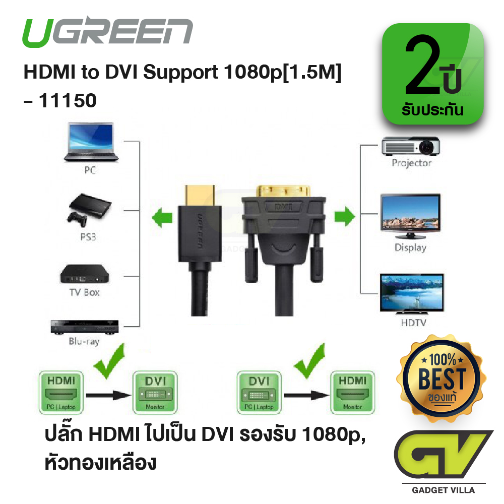 UGREEN 10137 HDMI to DVI 24+1 Cable