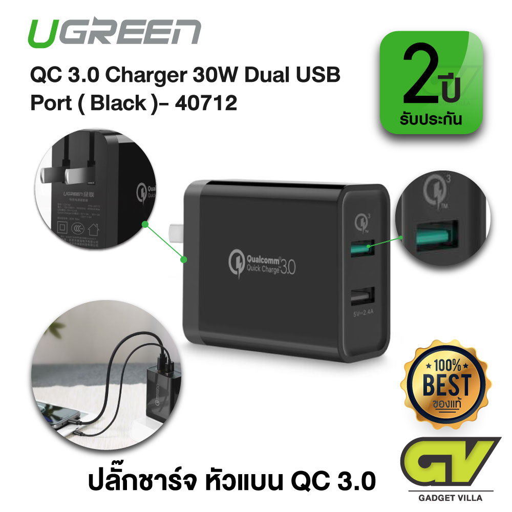 UGREEN รุ่น 40712 ปลั๊กชาร์จ หัวแบน QC 3.0 Charger 30W Dual USB Port Wall Charger with Qualcomm Quick Charge 3.0, Backward Compatible with QC 2.0, QC 1.0 (สีดำ)