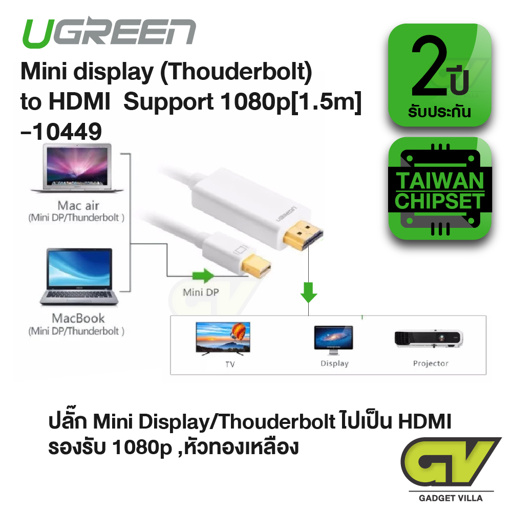 UGREEN - 10449 Mini DisplayPort (Thouderbolt) to HDMI HDTV Cable (1.5m, White)