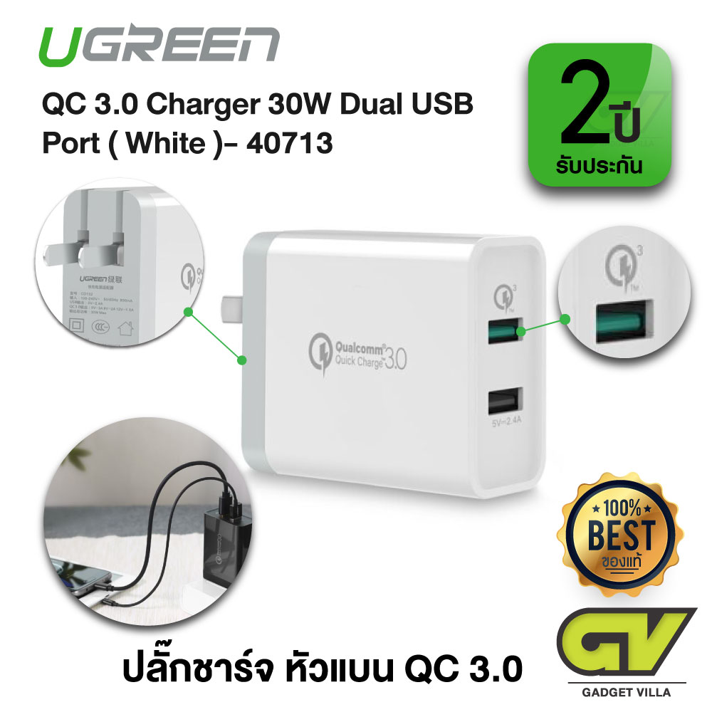 UGREEN รุ่น 40713 ปลั๊กชาร์จ หัวแบน QC 3.0 Charger 30W Dual USB Port Wall Charger with Qualcomm Quick Charge 3.0, Backward Compatible with QC 2.0, QC 1.0 (สีขาว)