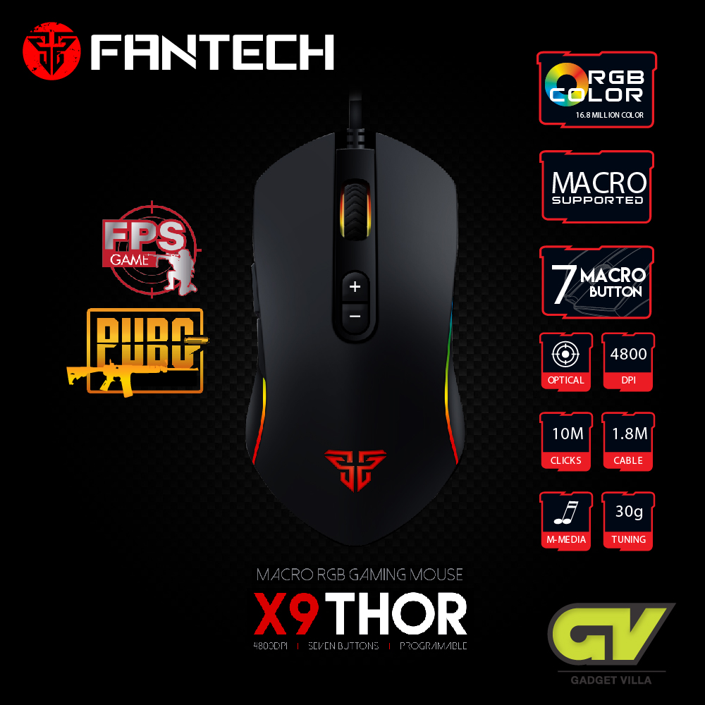 FANTECH Optical Macro Key RGB Gaming Mouse X9 THOR