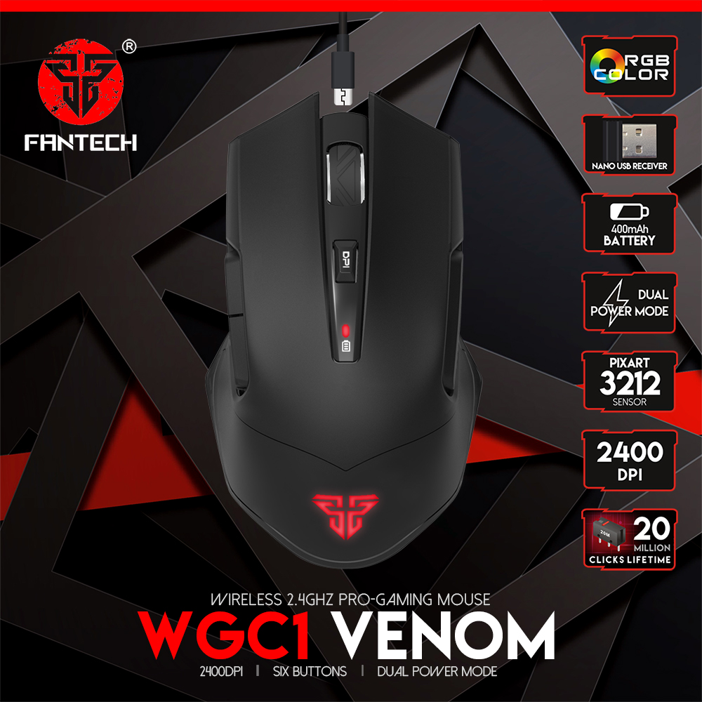 FANTECH VENOM WGC1 Wireless 2.4 Ghz Pro-Gaming Mouse